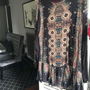 Free People Long Sleeve Printed Mini Dress Boho